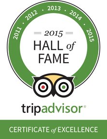 TripAdvisor Certificate of Excellence -- 2015 Hall of Fame
